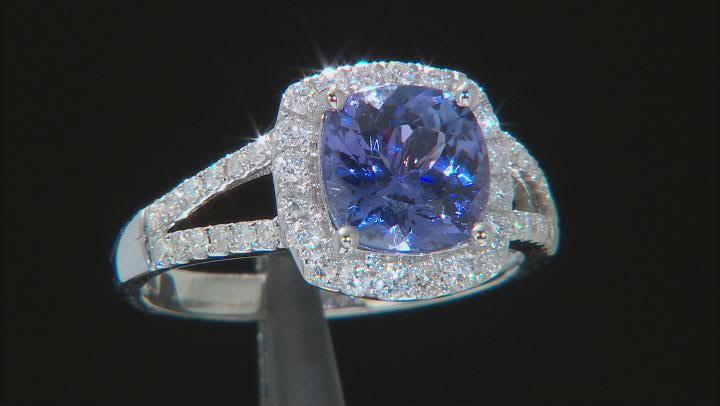 Blue Tanzanite Rhodium Over 14K White Gold Ring  2.50ctw