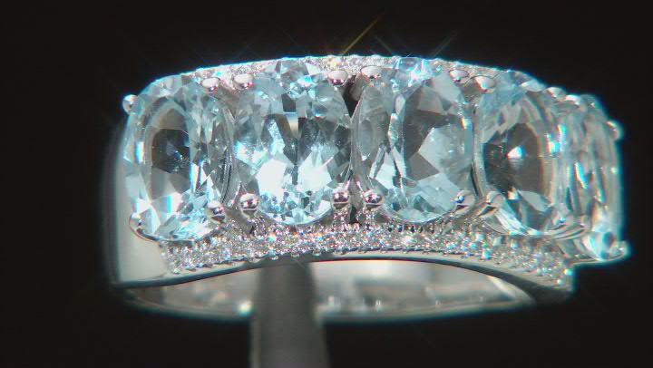 Blue Aquamarine Rhodium Over 14K White Gold Ring. 3.63ctw