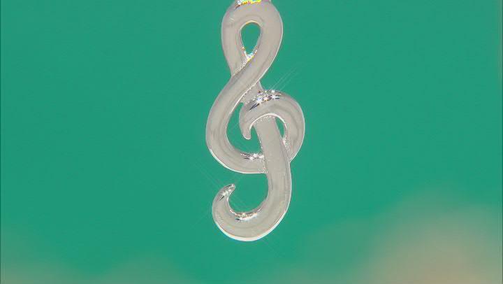 """Rhodium Over Sterling Silver Treble Clef Pendant W/ 18"""" Chain"""