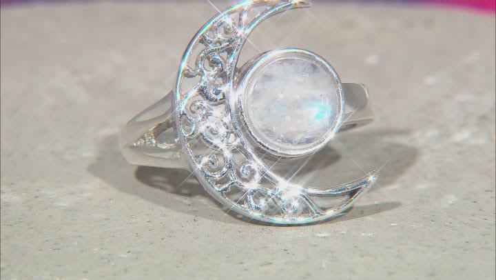 Rainbow Moonstone Rhodium Over Silver Crescent Moon Ring