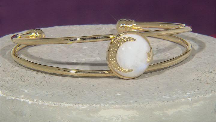 Rainbow Moonstone 18K Yellow Gold Over Sterling Silver Moon & Star Bracelet