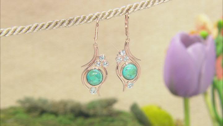 Turquoise & Sky Blue Topaz 18K Rose Gold Over Silver Earrings 0.50ctw