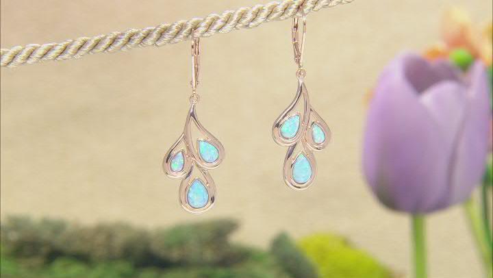 Blue Lab Created Opal 18K Rose Gold Over Silver Rain Drop Earrings