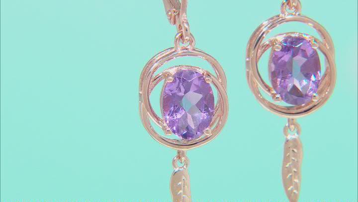 Lavender Amethyst 18K Rose Gold Over Sterling Silver Earrings 2.07ctw