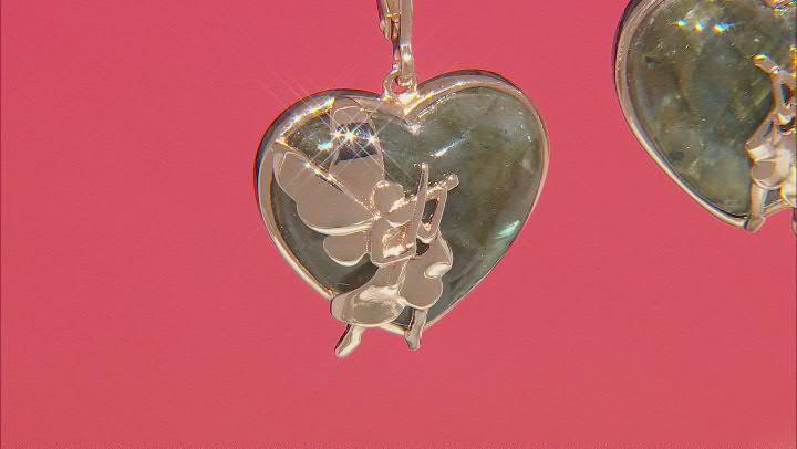 Labradorite 18K Rose Gold Over Silver Fairy Motif Earrings