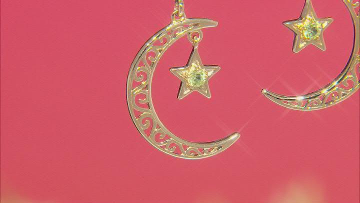 Peridot 18K Gold Over Sterling Silver Moon & Star Filigree Earrings 0.22ctw
