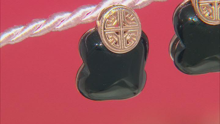 Onyx 18K Rose Gold Over Sterling Silver Clover Earrings