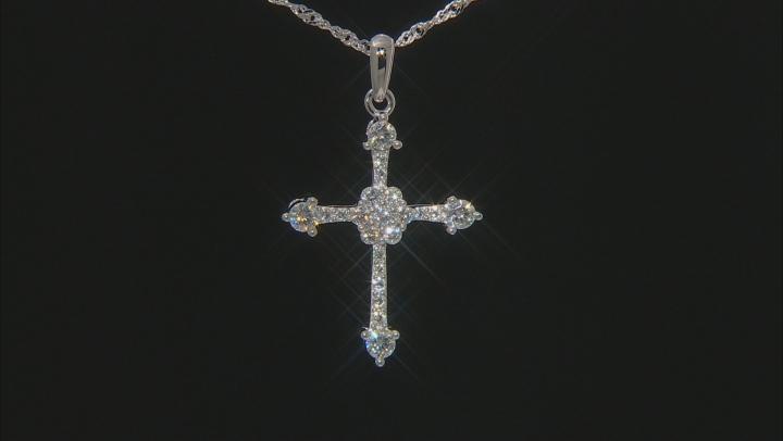 Moissanite Platineve Cross Pendant .78ctw DEW.