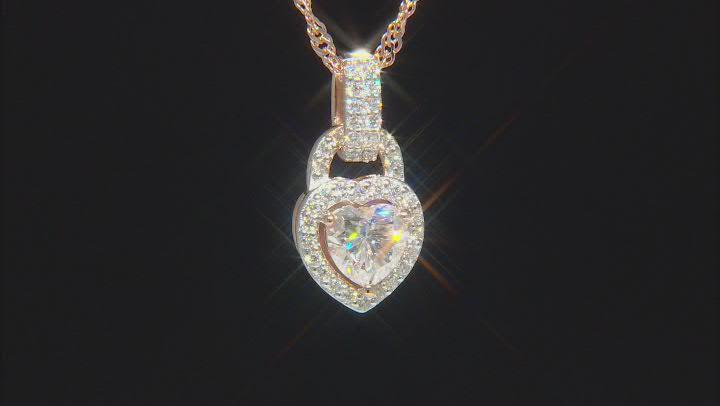 Moissanite 14k rose gold over sterling silver pendant 1.19ctw DEW
