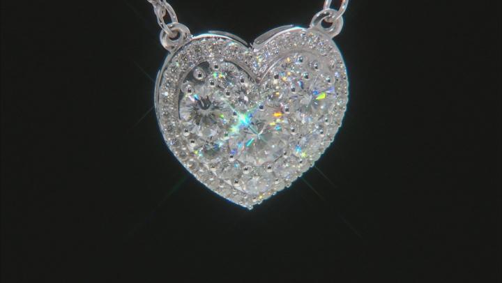 Moissanite Platineve Heart Necklace 2.18ctw DEW.