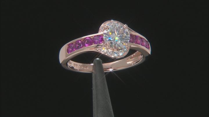 Moissanite And Grape Color Garnet 14k Rose Gold Over Silver Ring 1.10ctw DEW.