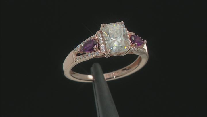 Moissanite And Grape Color Garnet 14k Rose Gold Over Silver Ring 2.14ctw DEW.