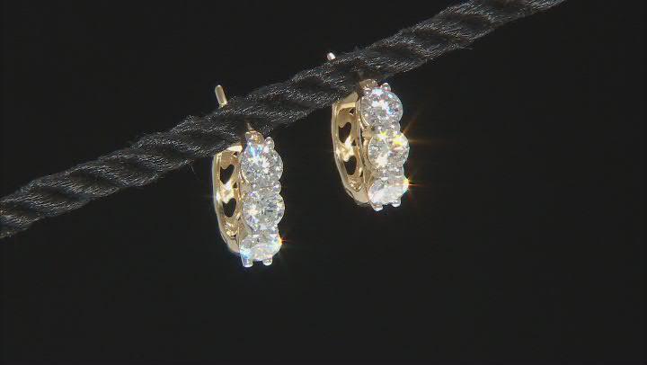 Moissanite 14k yellow gold over sterling silver hoop earrings 1.98ctw DEW