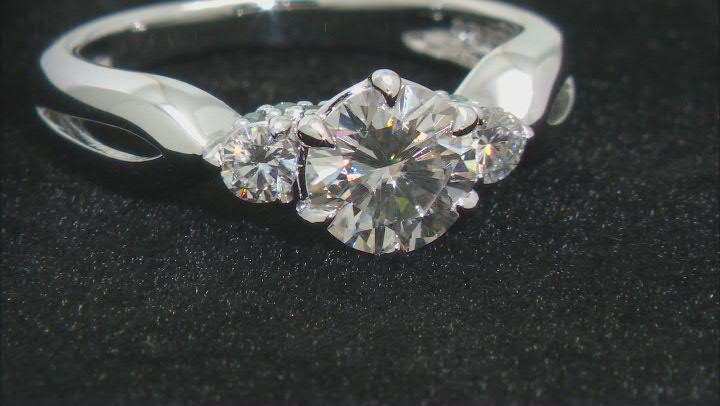 Moissanite and blue diamond platineve ring 1.20ctw DEW.