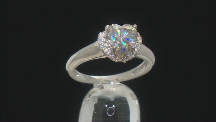 Moissanite platineve heart shape engagement ring 2.04ctw DEW.