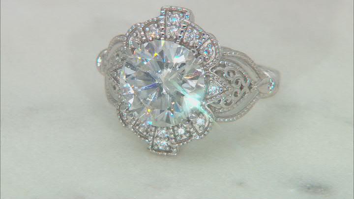 Moissanite Platineve Vintage Style Ring 4.34ctw DEW
