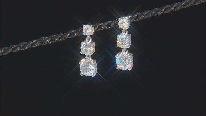 Moissanite platineve 3 stone earrings 2.18ctw DEW