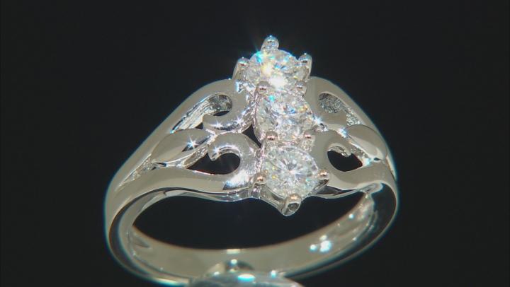 Moissanite Platineve Ring .69ctw D.E.W