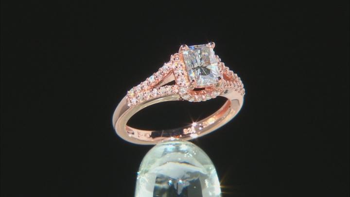 Moissanite 14k Rose Gold Over Platineve Ring 1.64ctw D.E.W