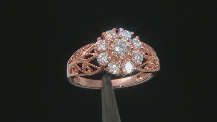 Moissanite 14k Rose Gold Over Silver Ring 1.30ctw DEW