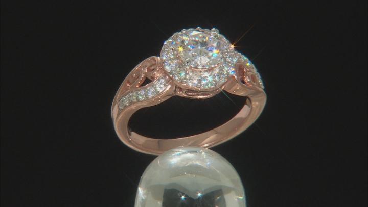 White Moissanite 14k Rose Gold Over Sterling Silver Ring 1.54ctw DEW