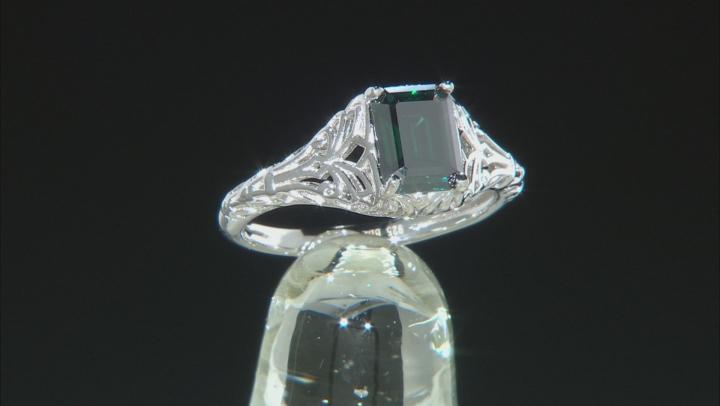 Green Moissanite Platineve Ring 1.75ct D.E.W