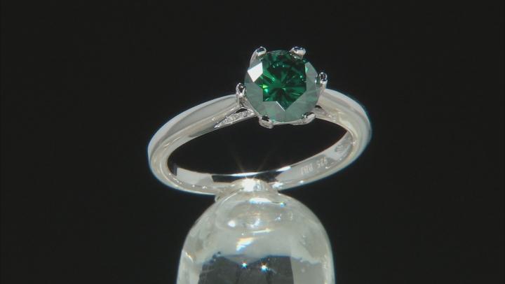 Green Moissanite Platineve Ring 1.50ct D.E.W