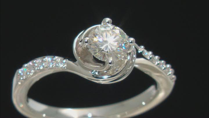 Moissanite Platineve Ring .74ctw D.E.W