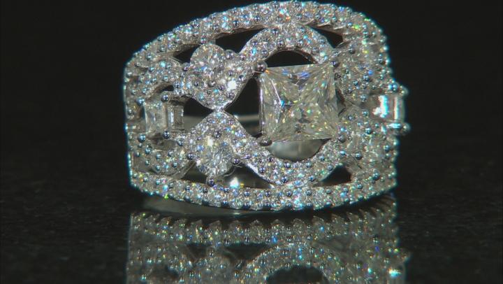 Moissanite Platineve Ring 3.16ctw D.E.W