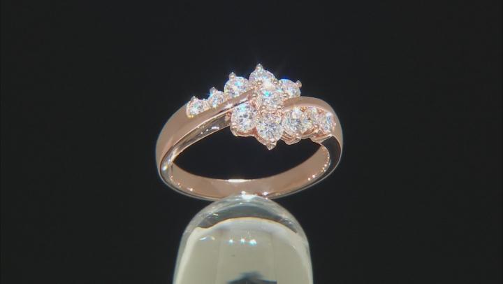 Moissanite 14k rose gold over silver ring .93ctw DEW