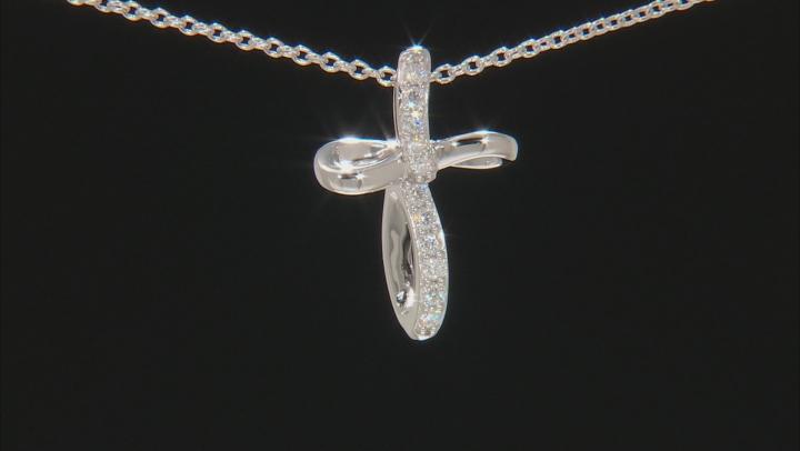 Moissanite Platineve Cross Pendant .33ctw DEW.