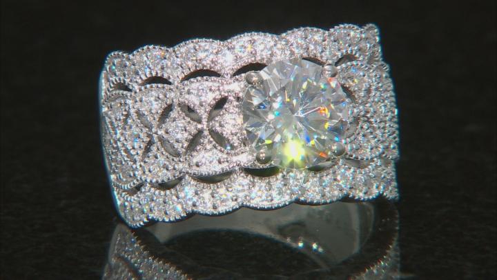 Moissanite Platineve Ring 2.60ctw DEW