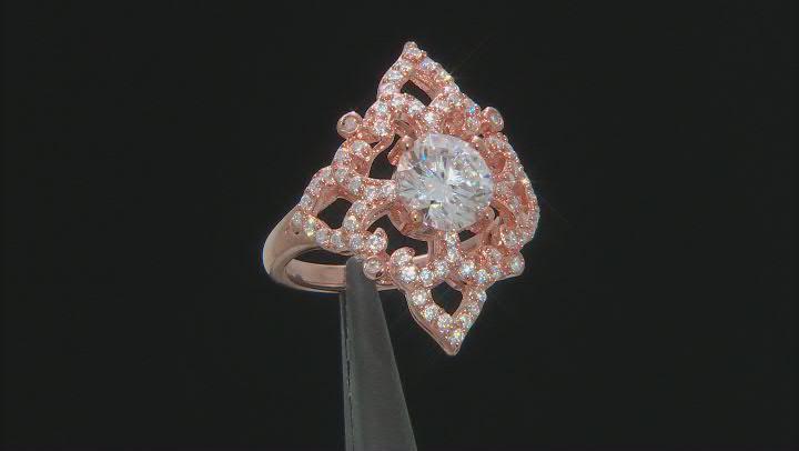 Moissanite 14k Rose Gold Over Silver Ring 2.62ctw DEW