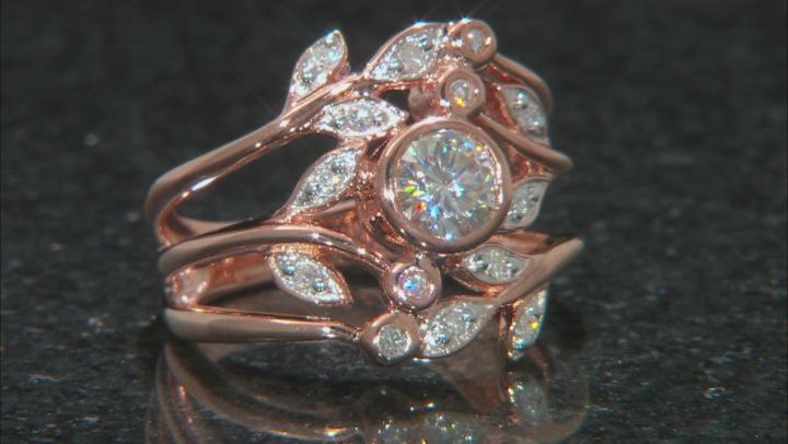 Moissanite 14k Rose Gold Over Silver Ring .88ctw DEW.