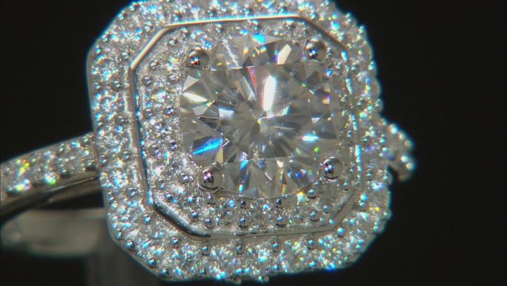 Moissanite Platineve Ring 2.90ctw DEW.