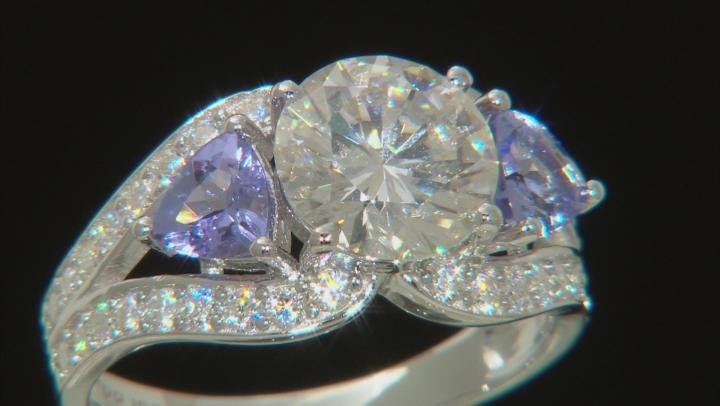 Moissanite And Tanzanite Platineve® Ring 2.92ctw DEW