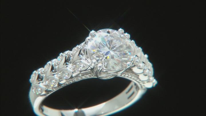 Moissanite Platineve Ring 2.14ctw DEW.