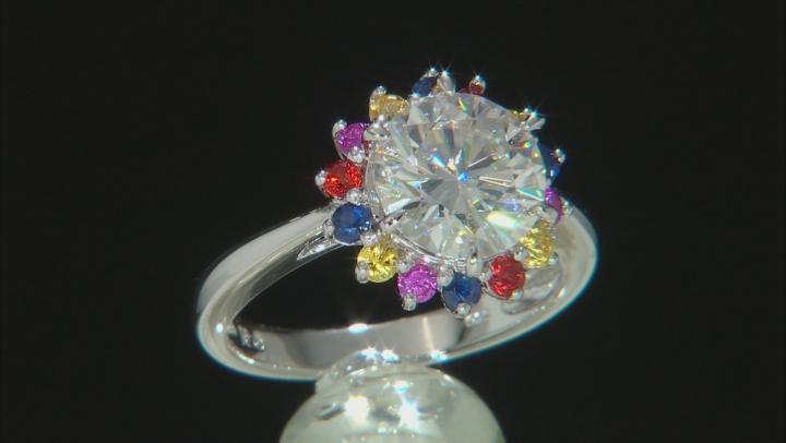 Moissanite multi-color sapphire Platineve ring 2.70ct DEW.