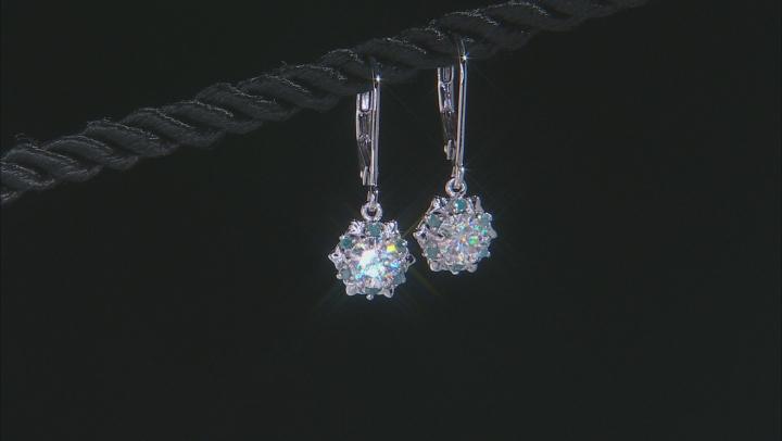 Moissanite and Blue Diamond  Platineve Earrings 1.00ctw DEW.