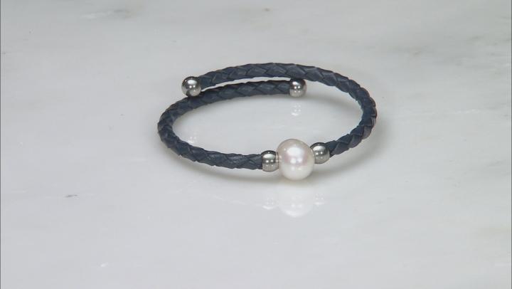 White Cultured Freshwater Pearl, Imitation Leather Silver Tone Bangle Set