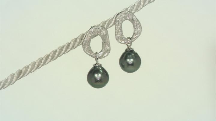 Cultured Tahitian Pearl Rhodium Over Sterling Silver Earrings