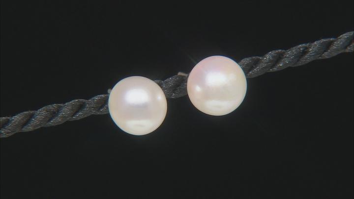 White Cultured Japanese Akoya Pearl 14k Yellow Gold Stud Earrings
