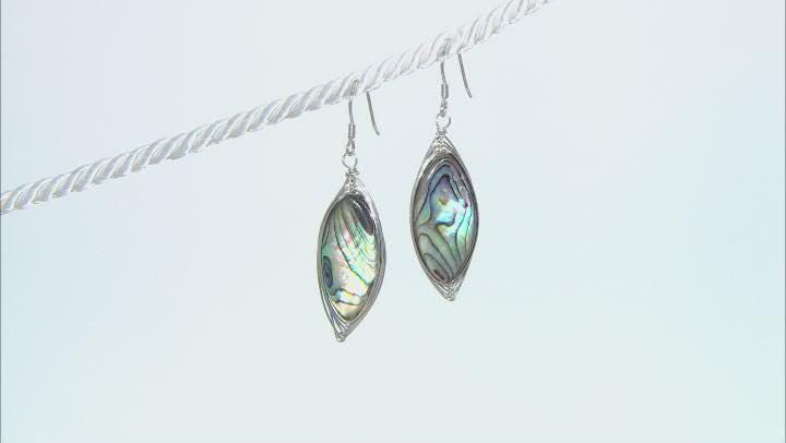 Abalone Shell Rhodium Over Sterling Silver Dangle Earrings