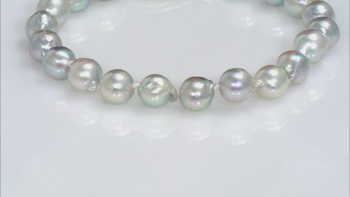 Platinum Cultured Japanese Akoya Pearl Rhodium Over Sterling Silver Bracelet