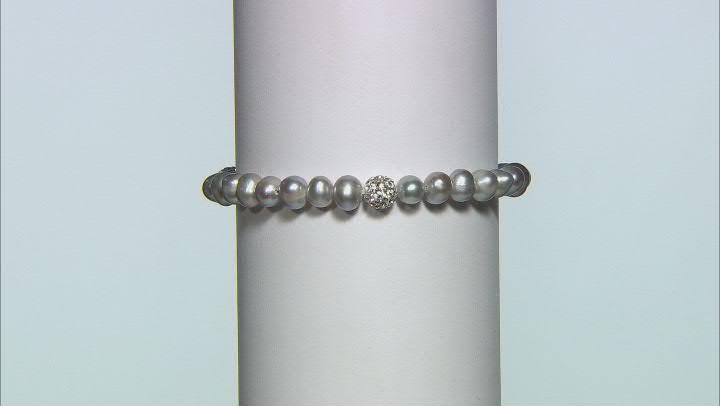 Multi-Color Cultured Freshwater Pearl & Crystal Stretch Bracelet Set of 4