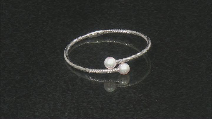 White Cultured Japanese Akoya Pearl Rhodium Over Sterling Silver Diamond Cut Bracelet