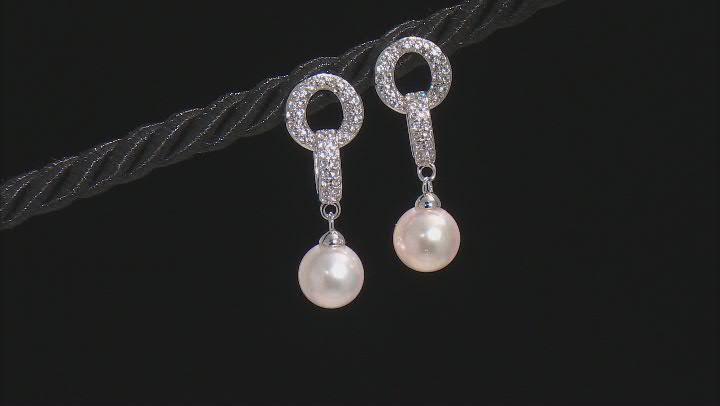 White Cultured Japanese Akoya Pearl & White Zircon Rhodium Over Sterling Silver Earrings