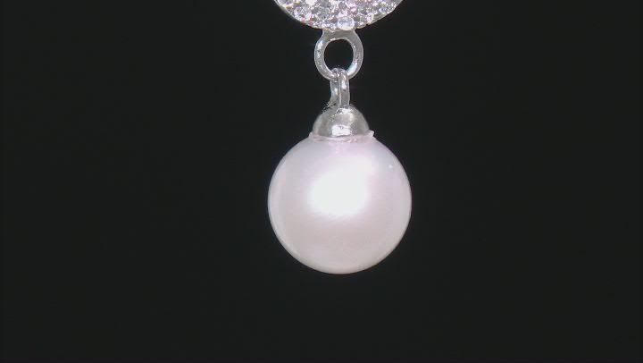 White Cultured Japanese Akoya Pearl & White Zircon Rhodium Over Sterling Silver Pendant