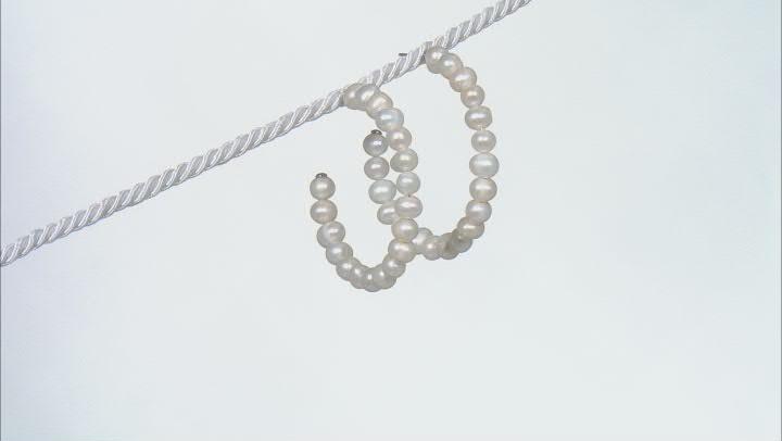 White Cultured Freshwater Pearl Rhodium Over Sterling Silver Hoop Earrings