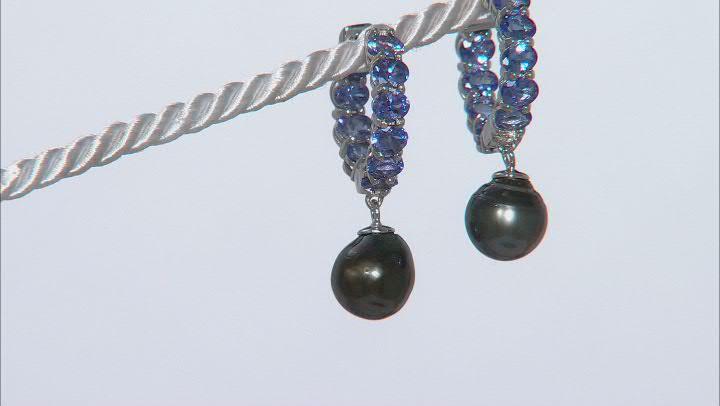 Cultured Tahitian Pearl & Tanzanite Rhodium Over Sterling Silver Earrings
